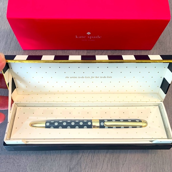 New Kate Spade To-Do List Ball Point Pen. Black.
